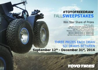 Toyo Tires Canada · #ToyoFreeDraw Fall Sweepstakes Sweepstakes