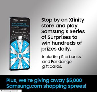SAMSUNG XFINITY SPIN TO WIN GAME Sweepstakes