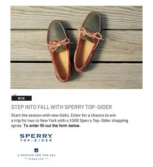 Sperry Top-Sider Sweepstakes